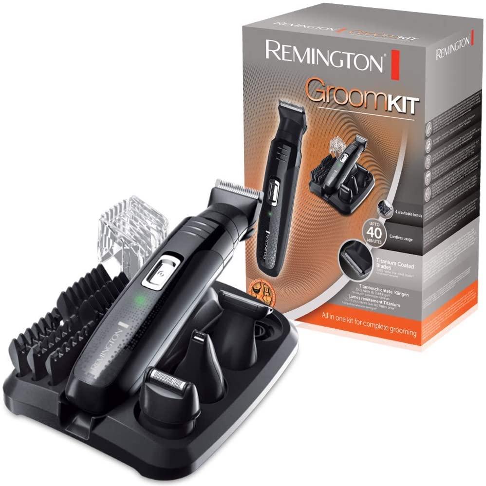Remington PG6130 Groomkit - Recortador multifunción, cuchillas con revestimiento de titanio autoafilables, cuatro cabezales