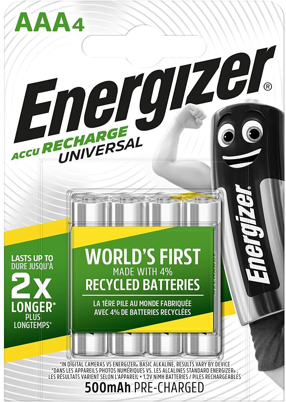 Energizer - Pilas Recargables Accu Recharge Universal 500 mAh HR03 AAA