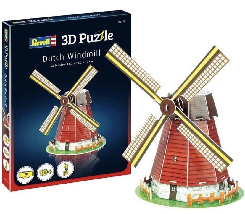 Molino de Viento holandés 3D Puzzle, Multicolor