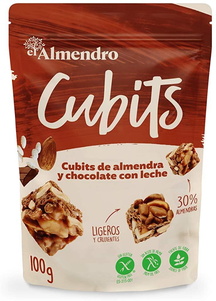 El Almendro - Cubits de Almendra y Chocolate con Leche 100 gr - Sin Gluten - Sin Aceite de Palma - Sin Aromas Artificiales