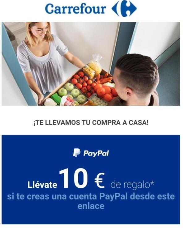 10 € Gratis Carrefour al Crear Cuenta PayPal