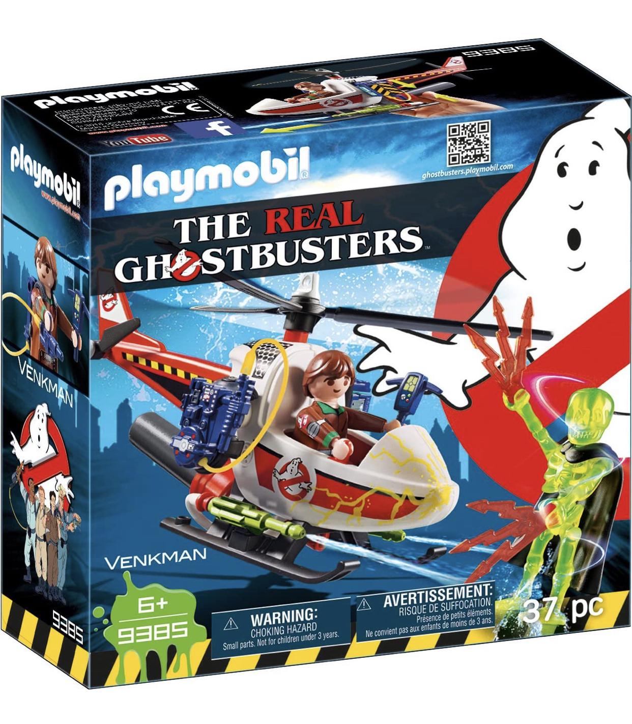 PLAYMOBIL Ghostbusters Venkman con Helicóptero y Chorros de Agua Reales