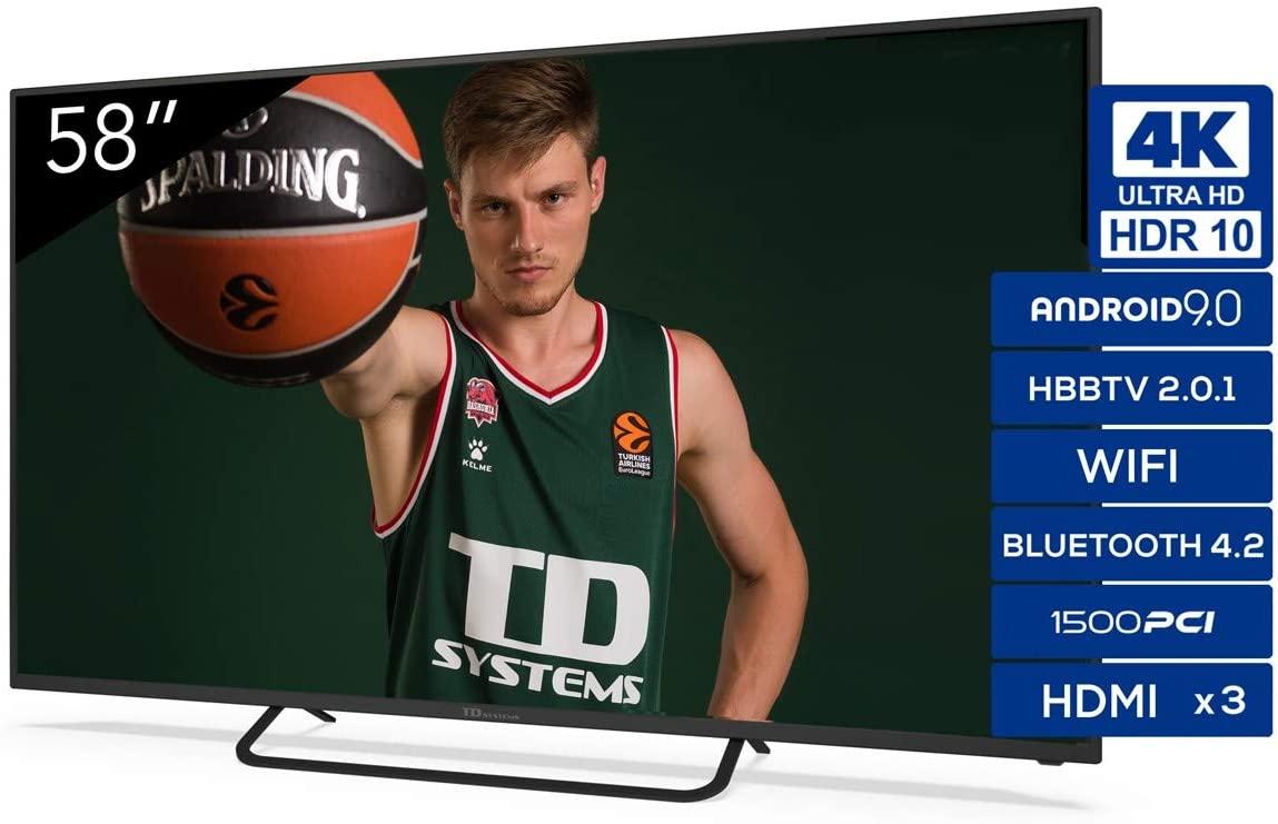 "TV 58 ""TD Systems K58DLX11HS 4K Android 9.0 y HBBTV, 1500 PCI Hz UHD HDR, 3X HDMI, 2X USB. DVB-T2/C/S2"