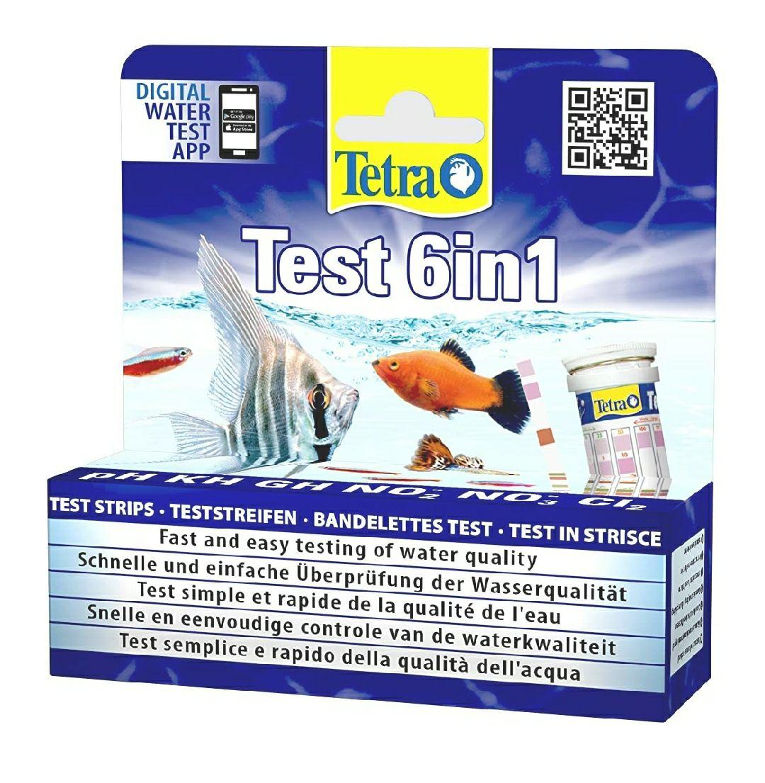 Tetra Test 6in1- Prueba de agua para controlar los seis valores más importantes del agua en un solo paso (25 strips)