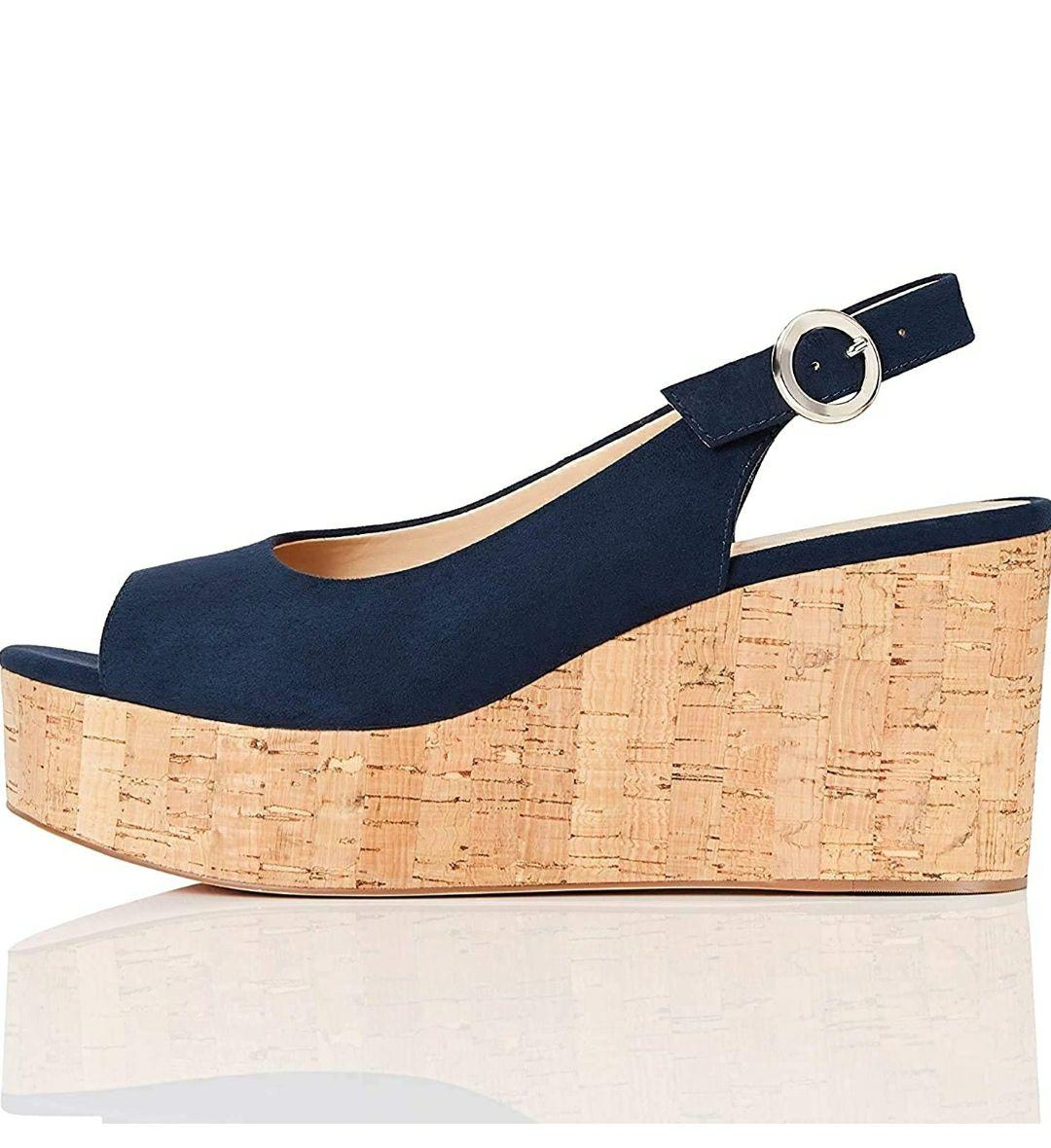 TALLA 40 - Marca Amazon - find. Scuba-s-1a-5 - Zapatos de tacón con punta abierta Mujer Azul Navy