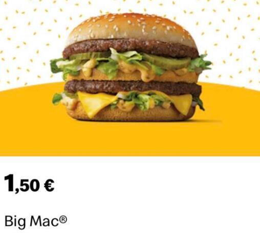 Mc Donals Big Mac a 1,50€ - App McDonald's para nuevos registros
