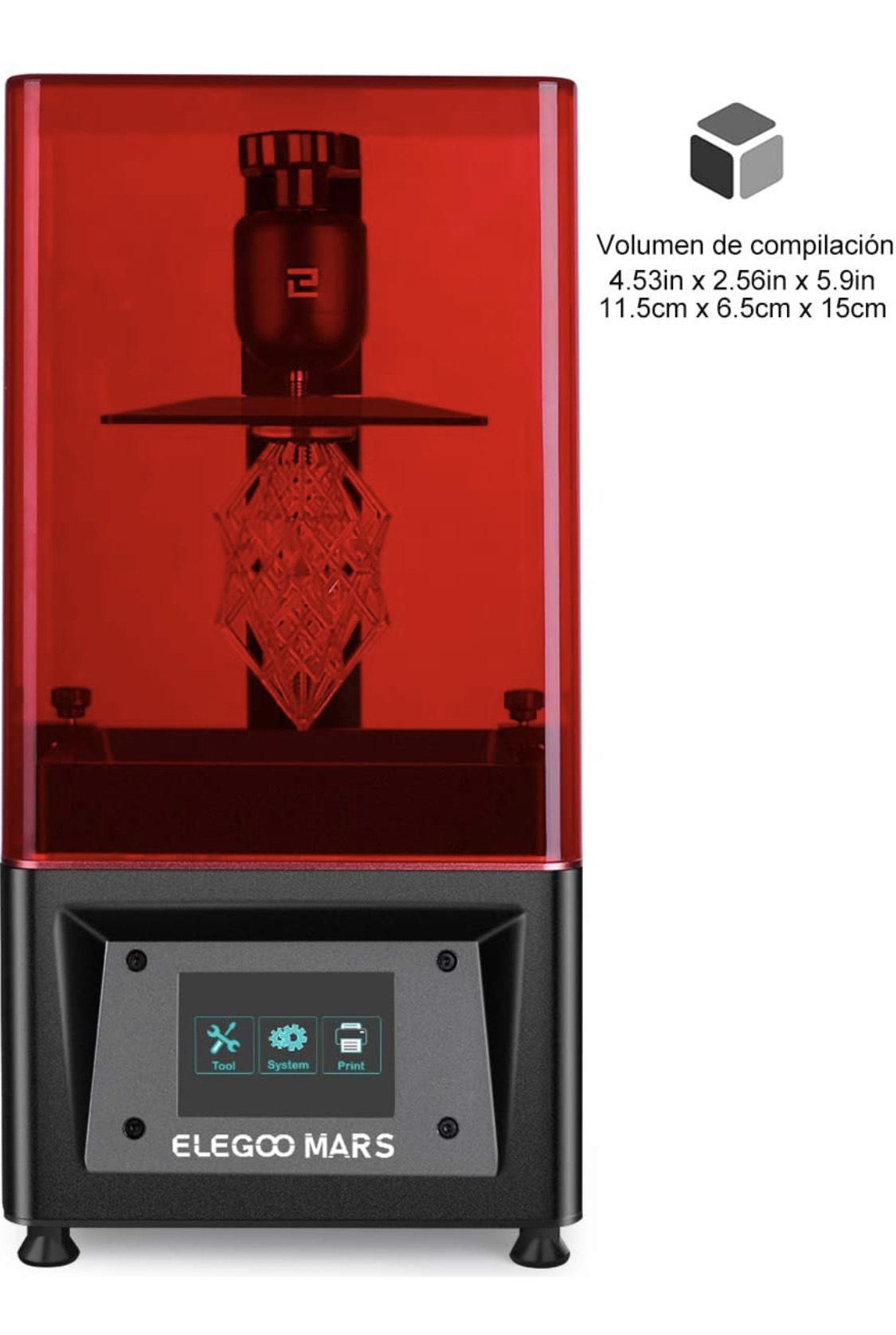 """ELEGOO MARS Impresora 3D UV Fotocurado con 3.5"""" Pantalla Táctil Inteligente de Color Impresión"""