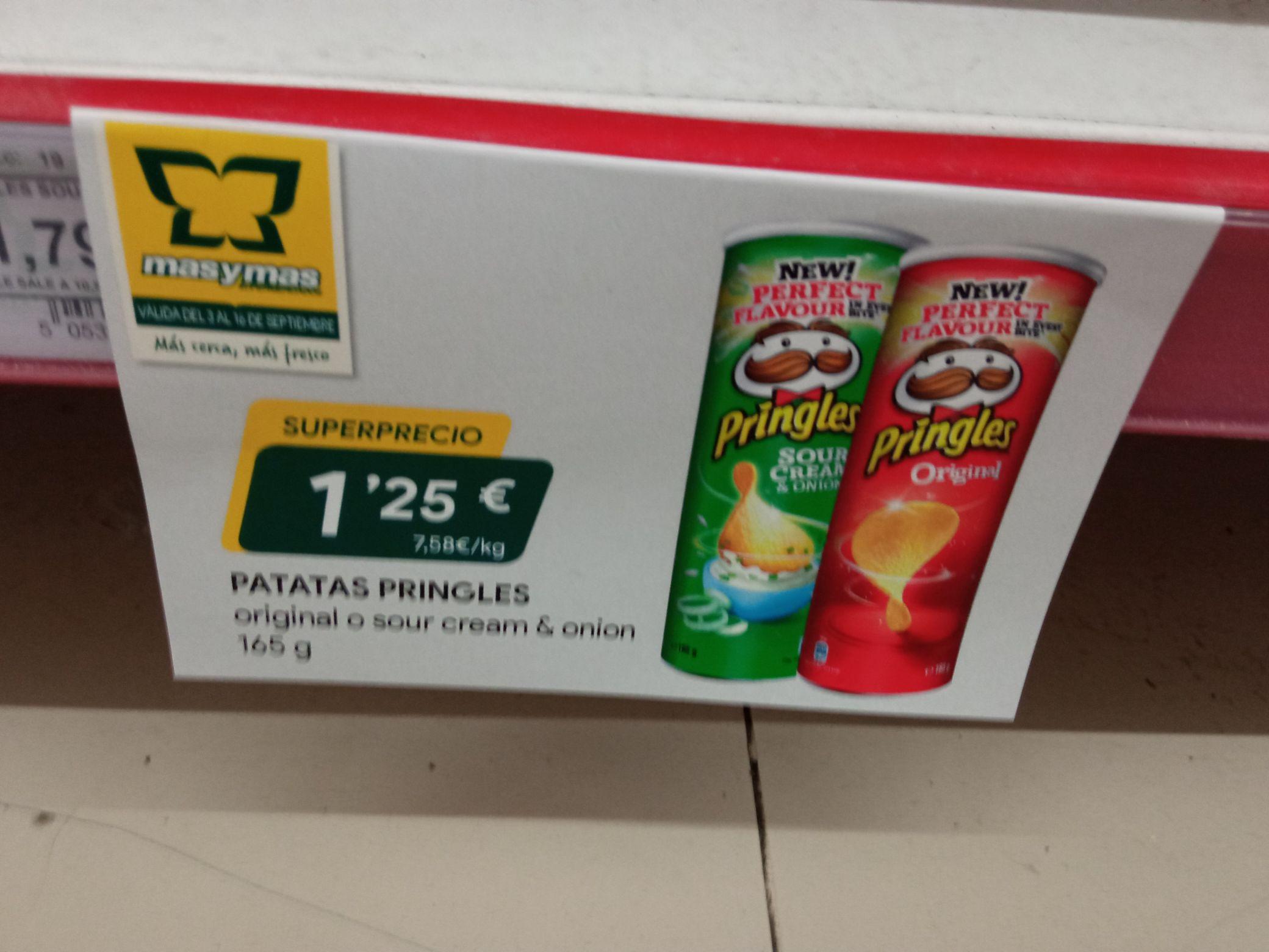 Patatas Pringles Original o Sour Crean 165gr en supermercados Mas y Mas