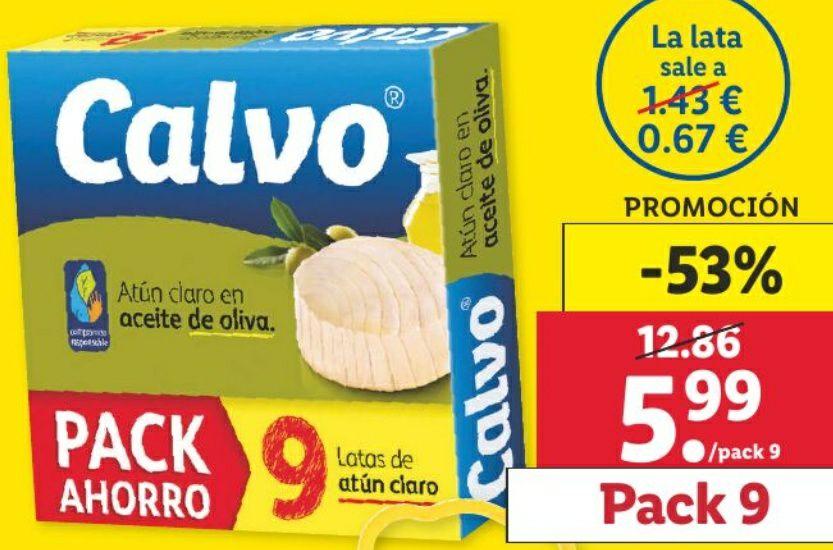 Pack de 9 latas de ATÚN claro en aceite de oliva CALVO