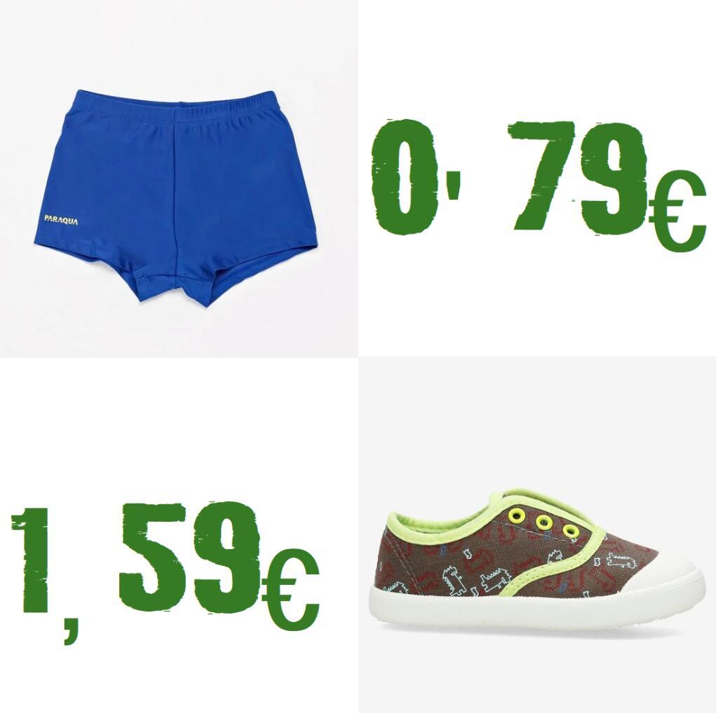 Boxer Natación talla 4 y 6 por 0'79€ y zapatillas 1'59€