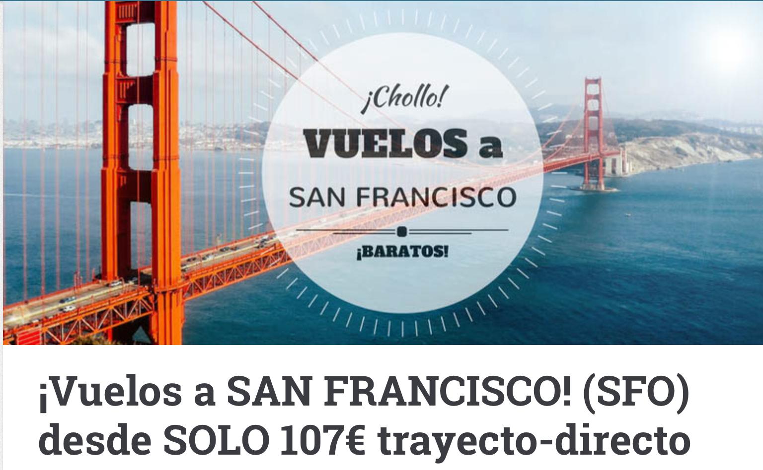 Vuelo directo,  ida y vuelta, Barcelona a San Francisco, desde 215€