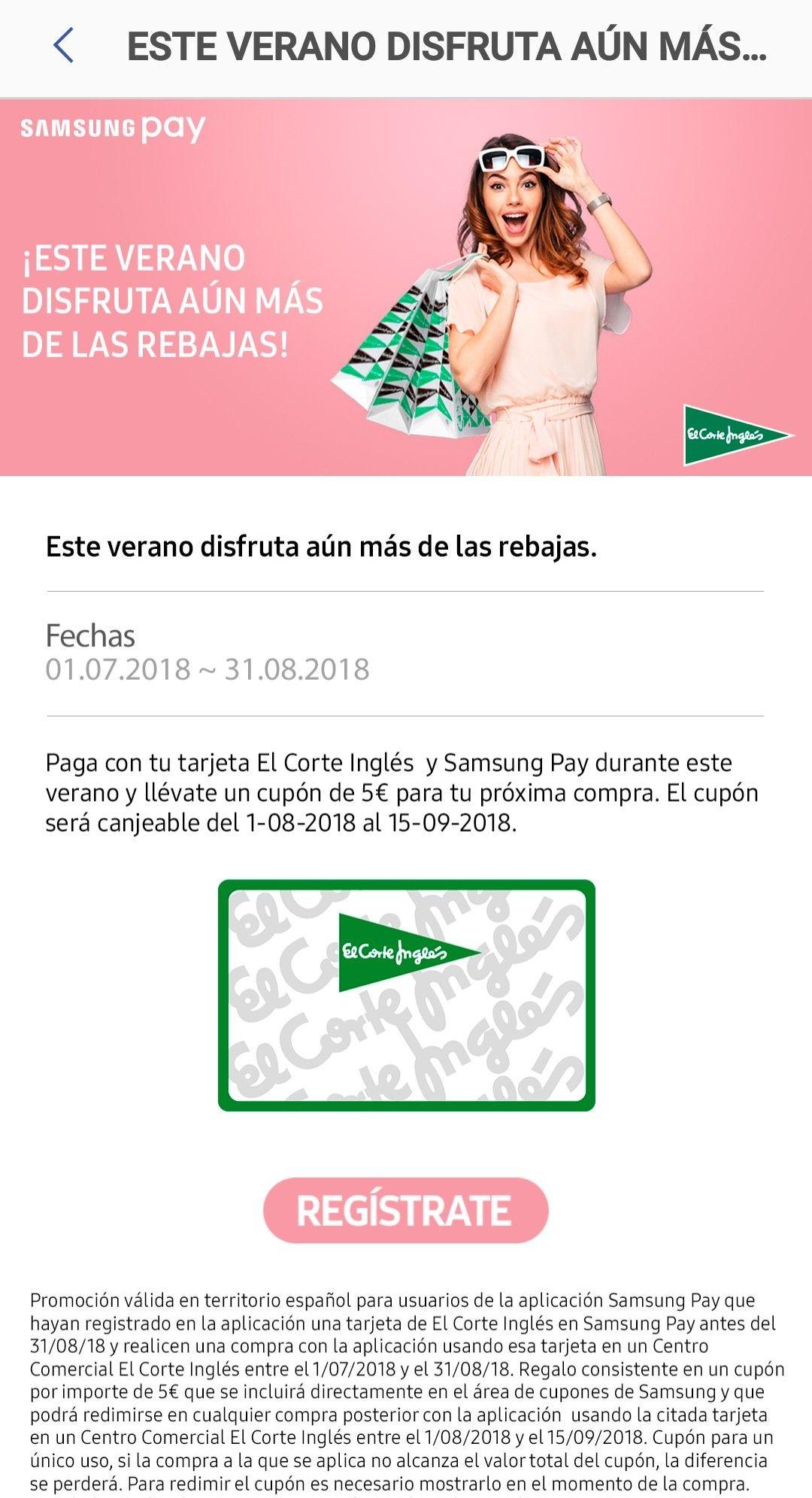 5€ Descuento en el Corte Ingles (Samsung Pay)