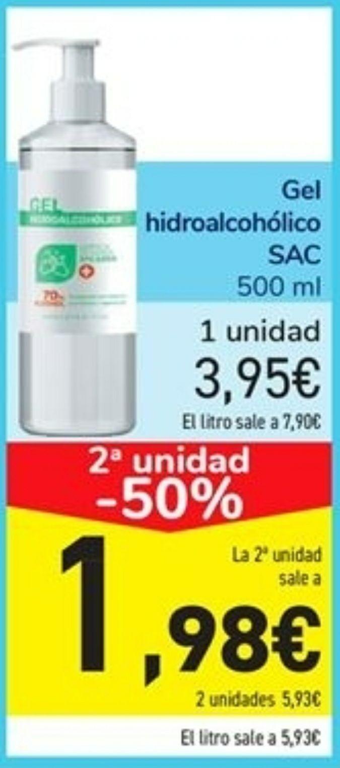 2 BOTES DE GEL HIDROALCOHOLICO DE 500ml 70% (5,93€/litro)