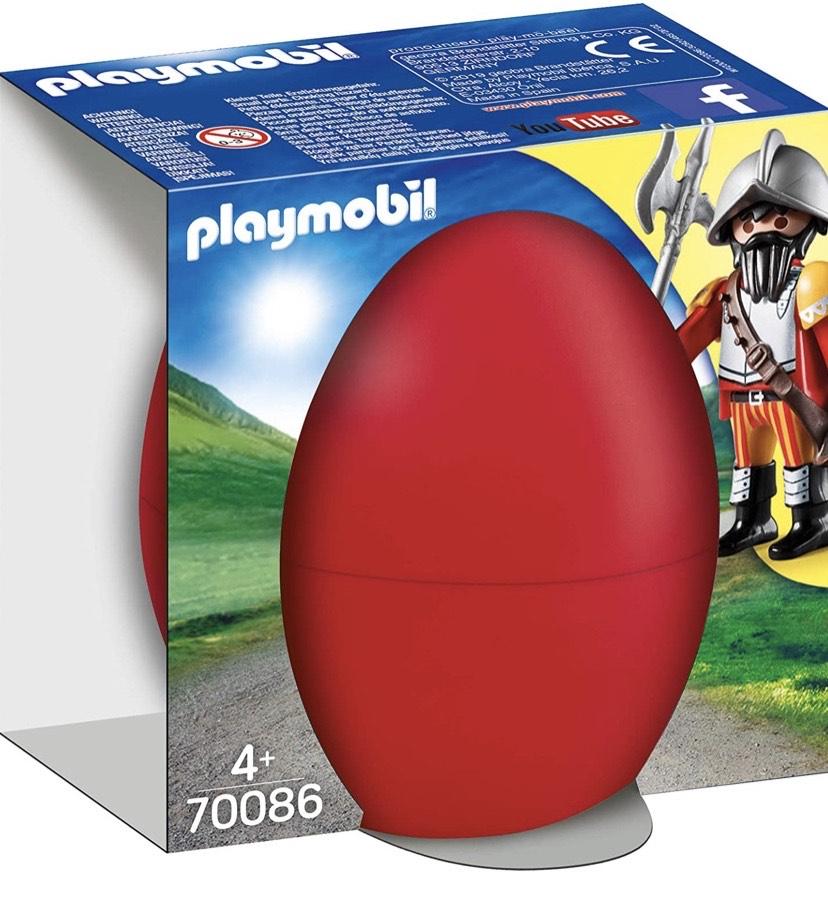 PLAYMOBIL- Ostereier Huevo Caballero+cañón, Color carbón