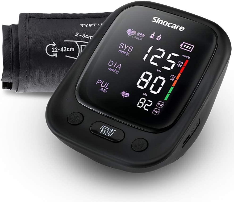 sinocare Tensiómetro de Brazo Digital, Presión Arterial y pulso de frecuencia cardíaca detección,2 memorias de usuario (2 * 90)