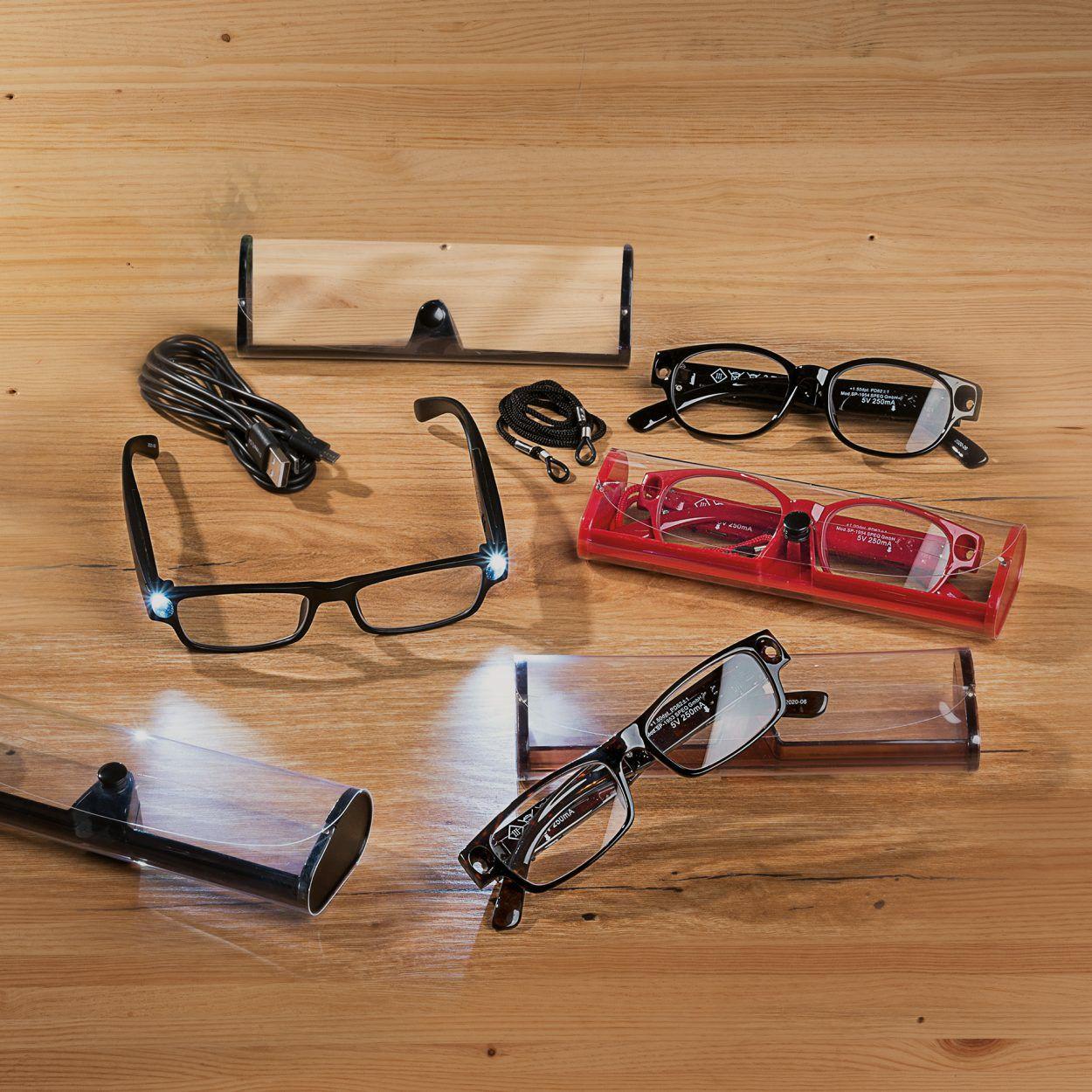 GAFAS DE LECTURA CON LUZ LED RECARGABLES POR USB + ESTUCHE Y CORDEL (dioptrias 1.0 hasta 3.0) varios modelos