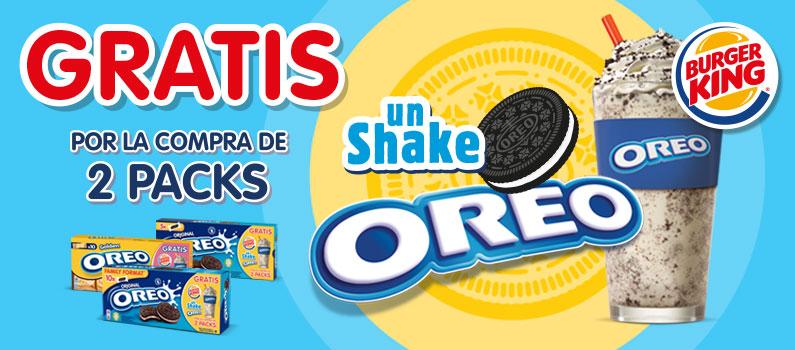 Oreo Shake GRATIS por la compra de 2 paquetes Oreo.