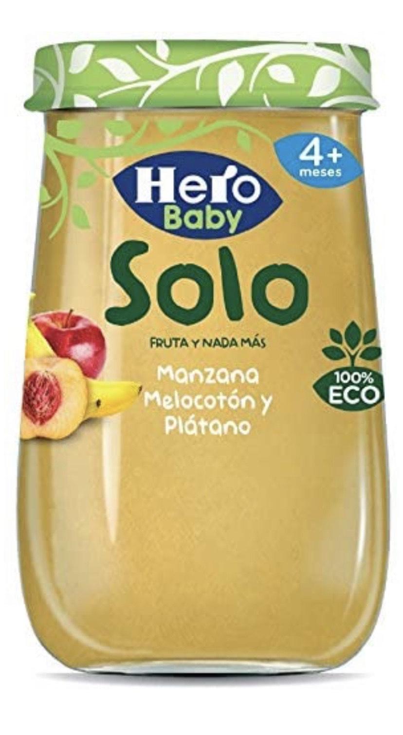 Hero baby solo fruta y nada más manzana, melocotón y plátano a 190 gr