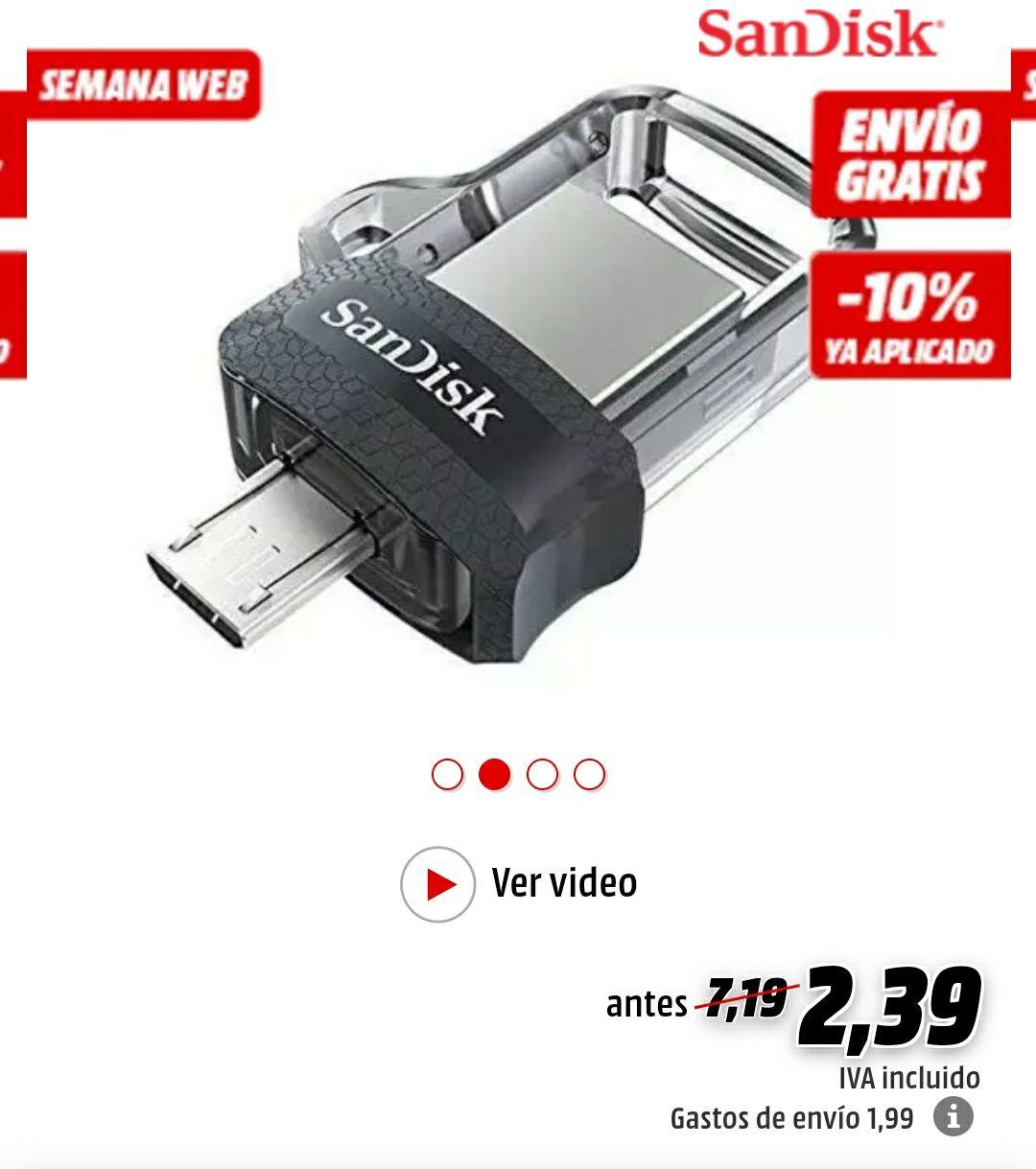 Memoria USB 16 GB - SanDisk Ultra Dual Drive M3.0, Micro USB y USB 3.0, 130 MBs, Gris