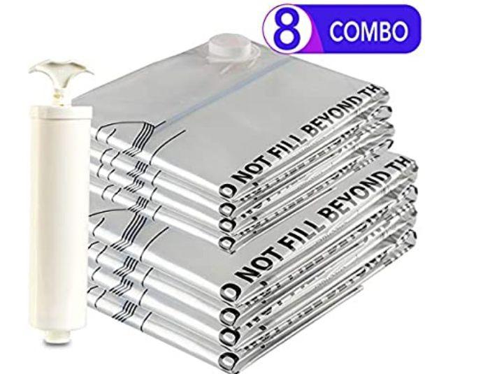 Eono Essentials - Paquete de 8 Bolsas prémium de compresión al vacío + Bomba Manual (4 Grandes y 4 extragrandes) *Mínimo histórico*