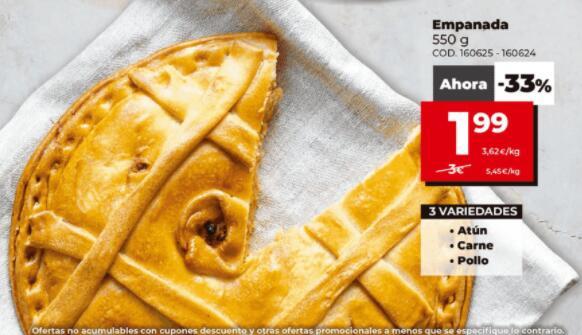 Empanada de 550gr de Atun, Carne o Pollo por 1.99€ en DIA