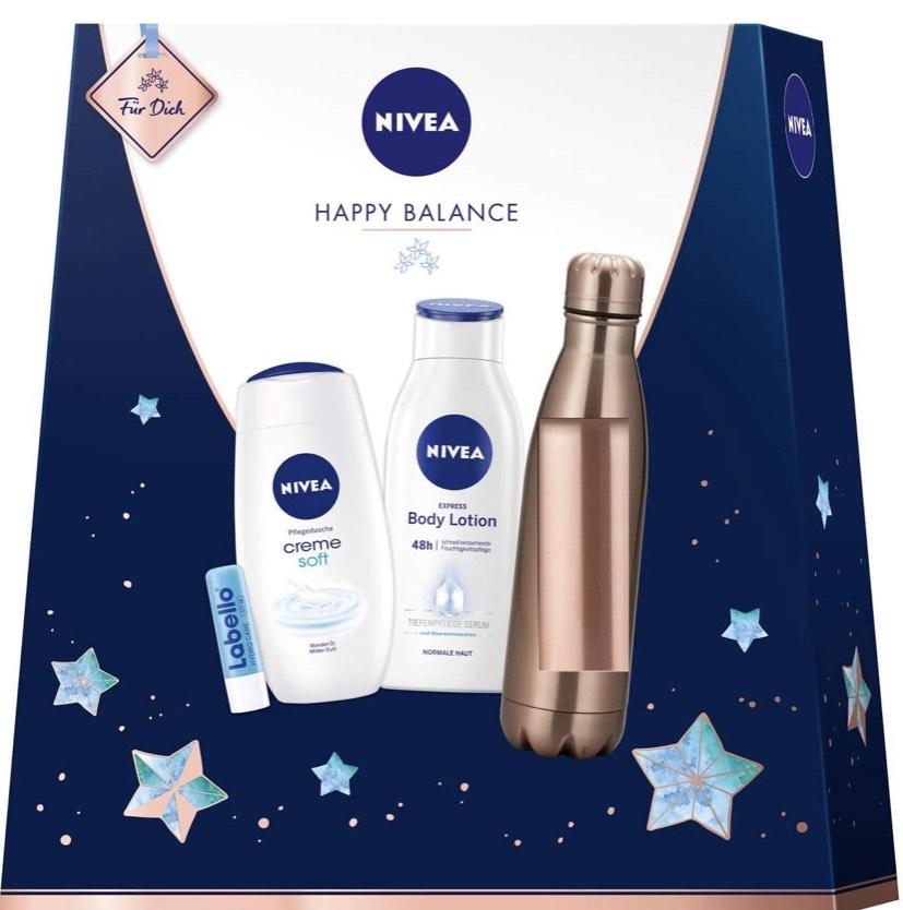 Set de regalo con botella, loción corporal, ducha de cuidado y cabello nívea