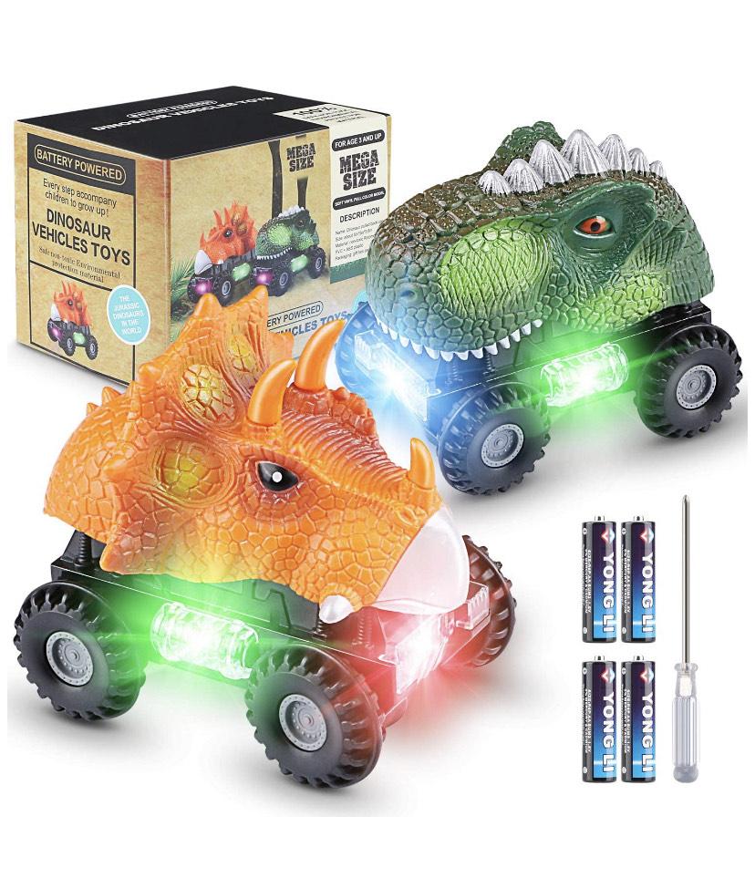 2 coches de juguete con luz LED