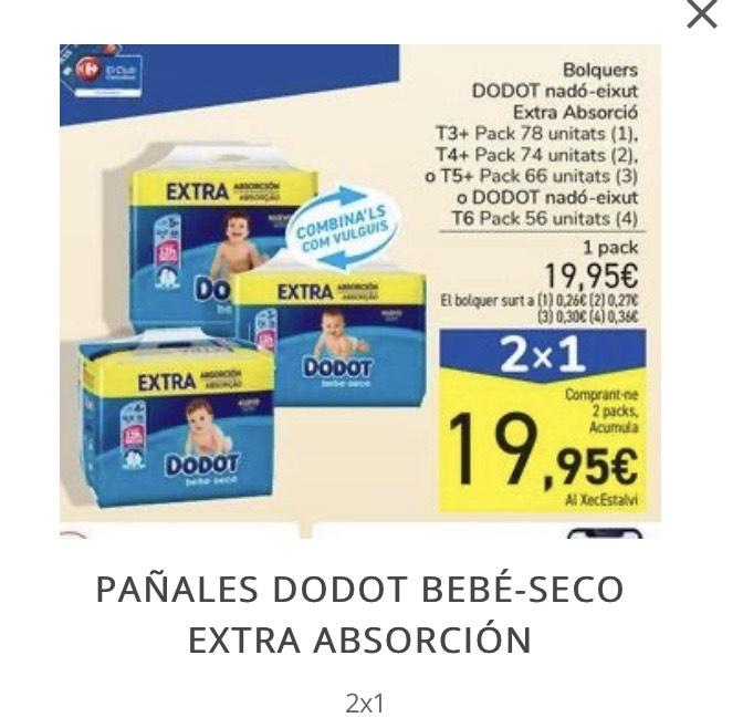 2x1 en PAÑALES DODOT BEBÉ-SECO EXTRA ABSORCIÓN