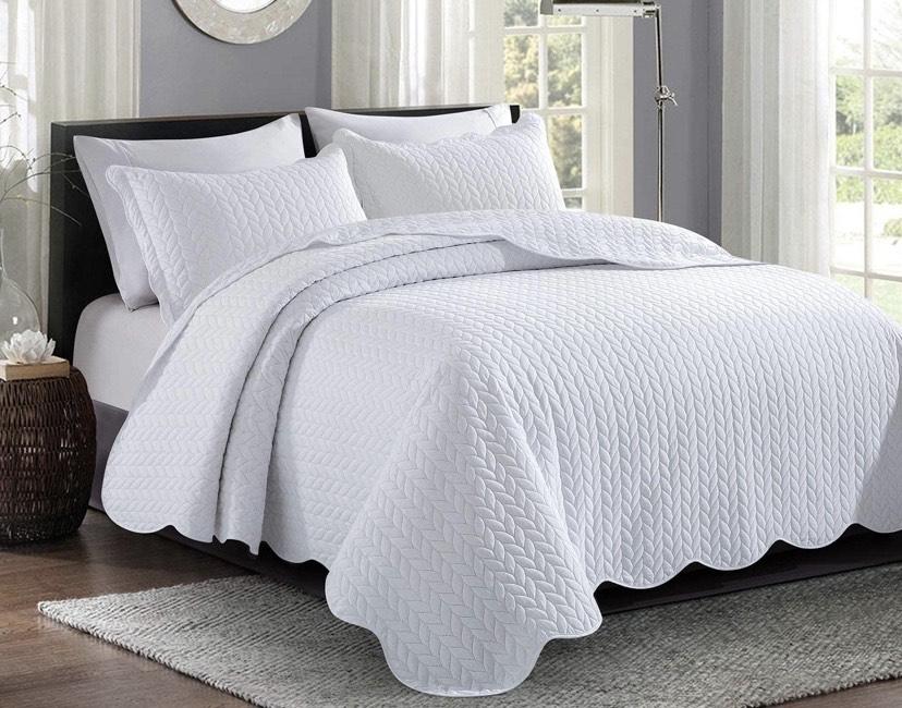 Colcha acolchada para cama King 240 x 260 cm + 2 fundas de almohada reversible