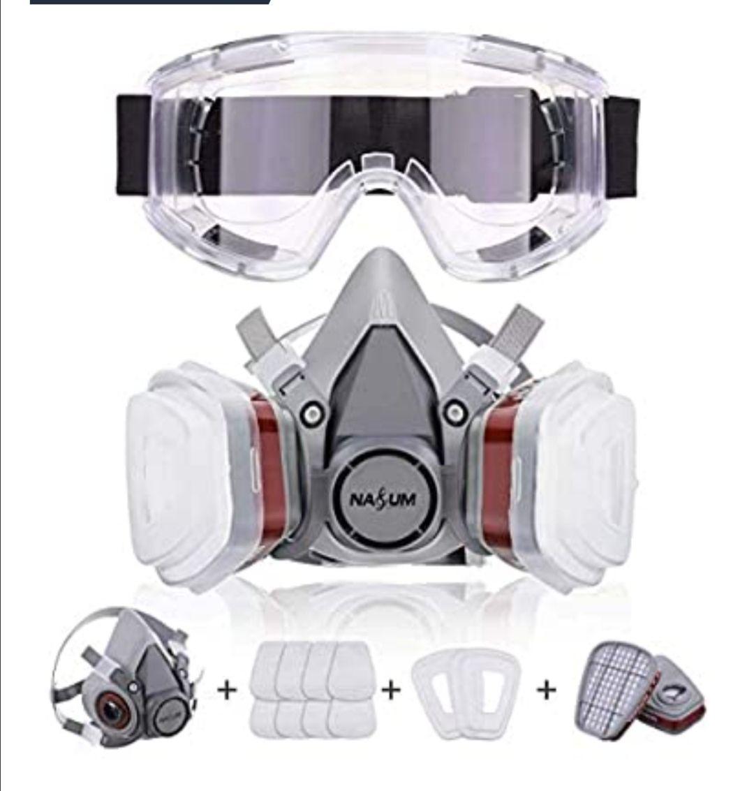 NASUM Facial Cubierta Antipolvo, con 2 Filtros / 2 Cajas / 8 Algodones/Gafas Protectoras