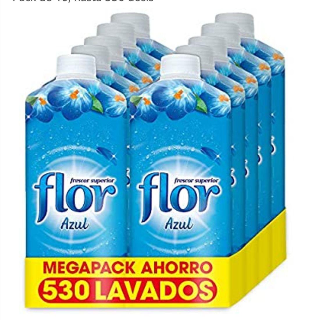 Flor - Suavizante para la ropa concentrado, aroma azul - Pack de 10, hasta 530 dosis (compra recurrente)