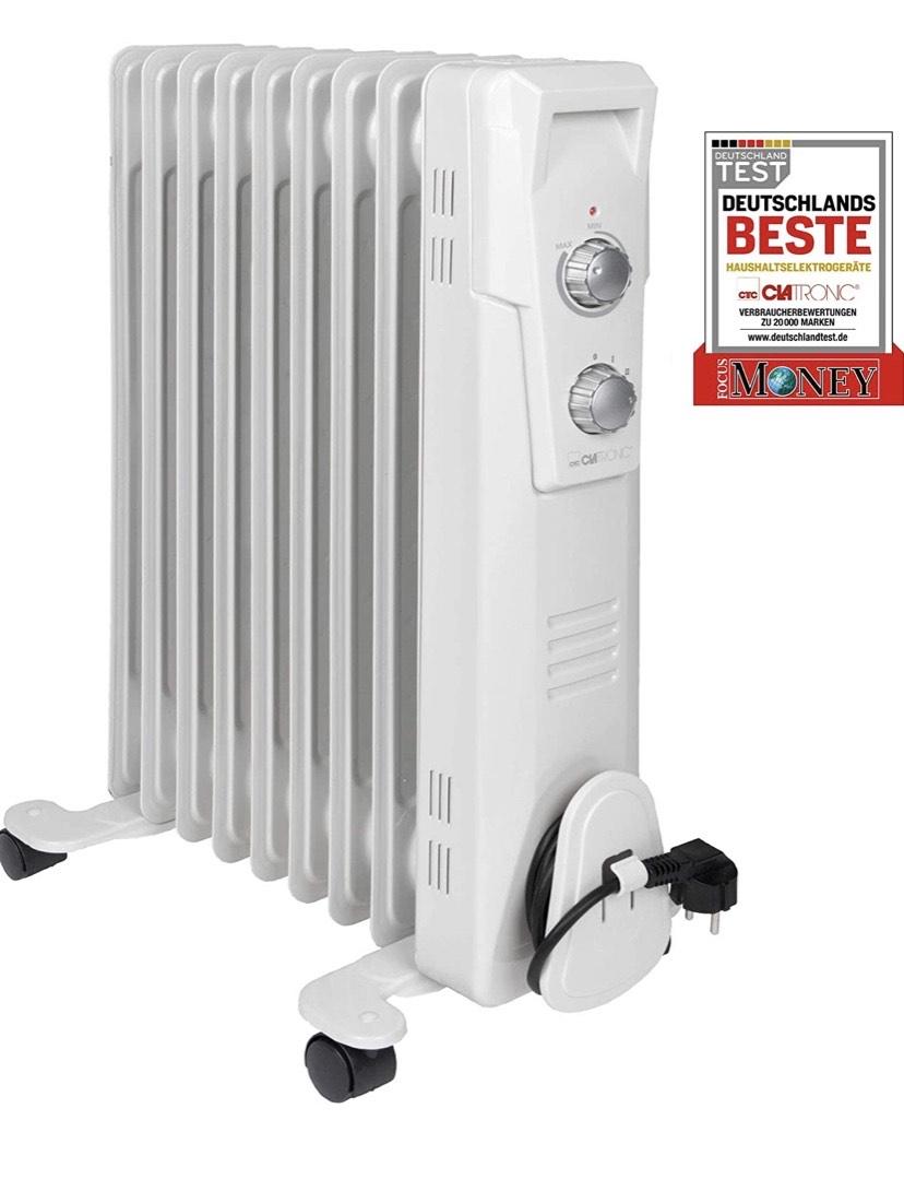 Clatronic RA 373x - Radiador de Aceite (radiador móvil) 2000 W, 9 Aletas. Blanco