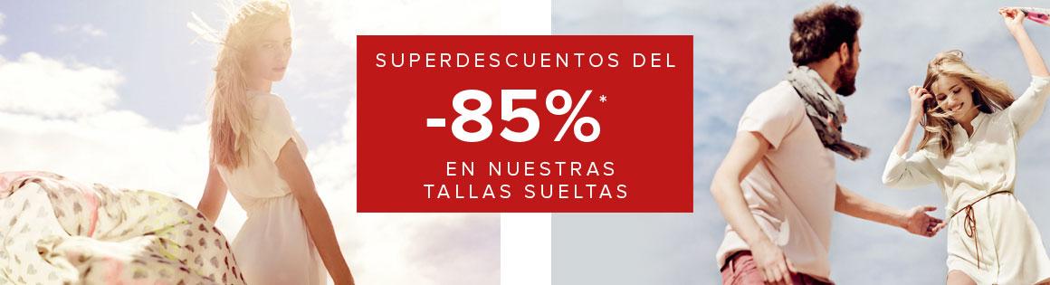 Descuentos del 85% en tallas sueltas de ropa