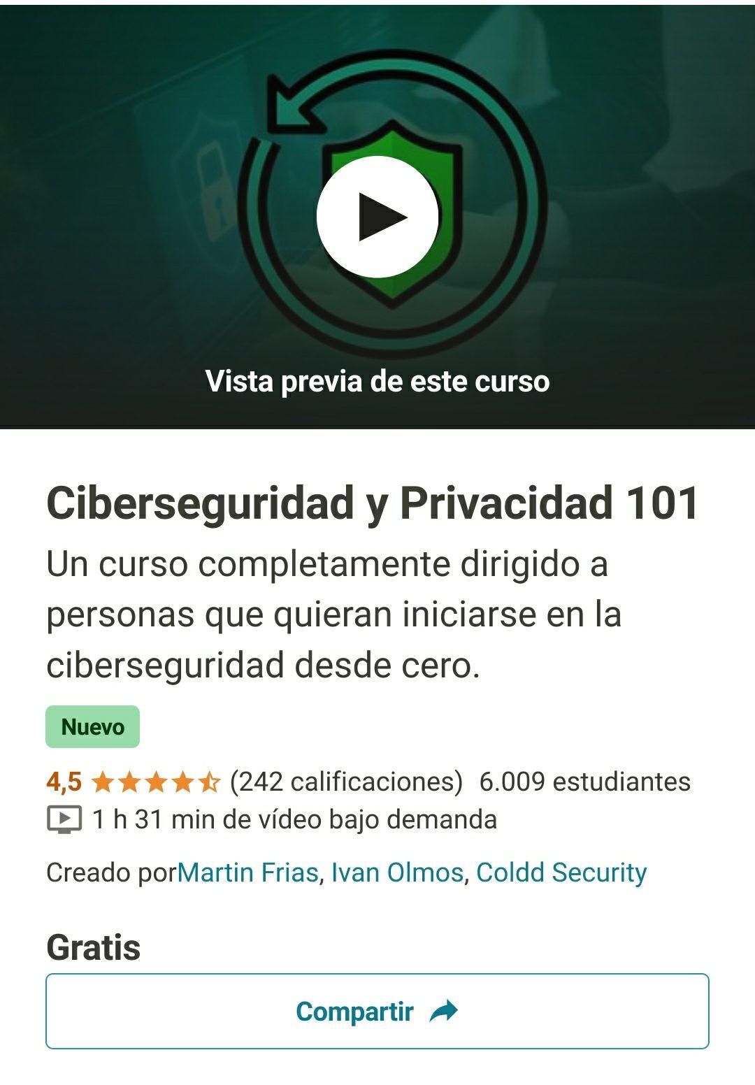 GRATIS Curso de Ciberseguridad y Privacidad GRATIS