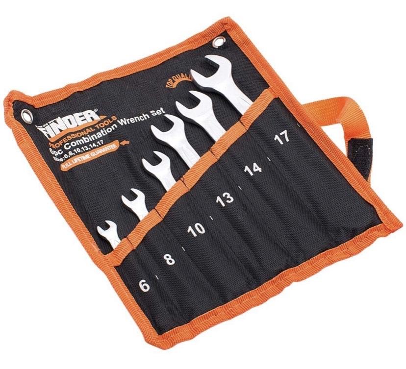 Juego de llaves combinadas, juego de llaves métricas abiertas y de extremo en caja 6mm-17mm, Set of 6Pcs