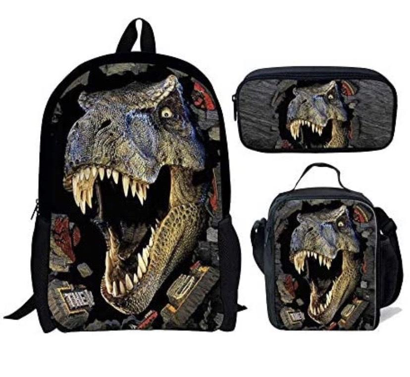Juego de 3 bolsas de escuela para niños, mochila con bolsa de almuerzo, bolsa de lápices de dinosaurio