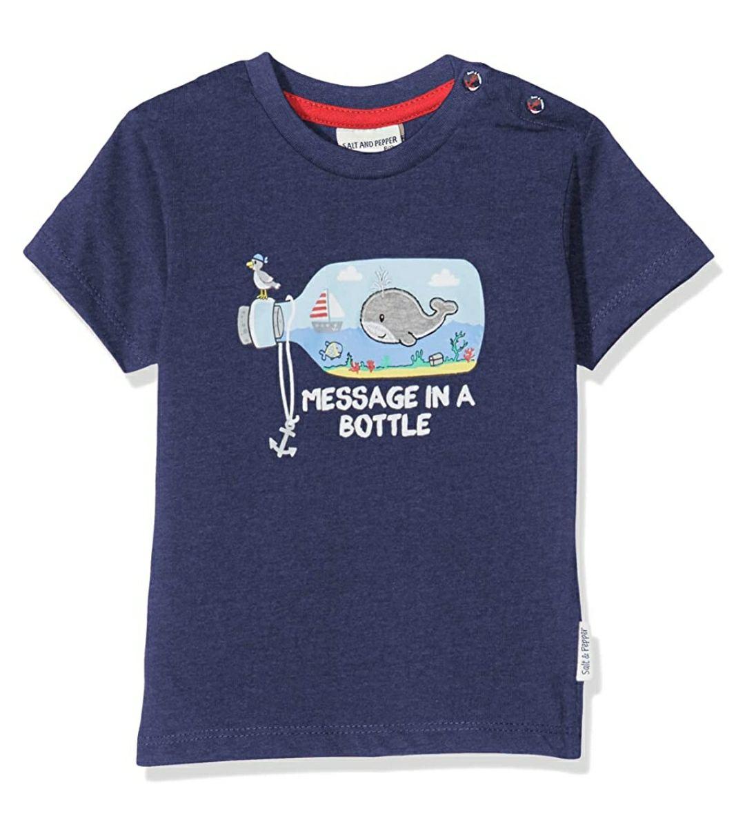 TALLA 62 - Salt & Pepper Mit Maritimen Druck Und Stickerei Camiseta para Bebés. Color azul