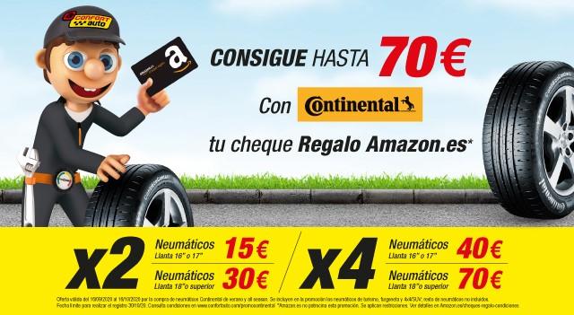 Consigue hasta 70 euros en amazon por comprar neumáticos Continental
