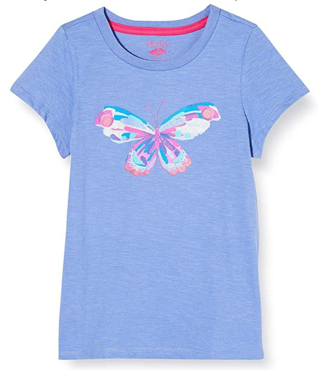 TALLA 5 Años - Hatley Short Sleeve T-Shirts Camiseta para Niñas. Color azul, mariposa