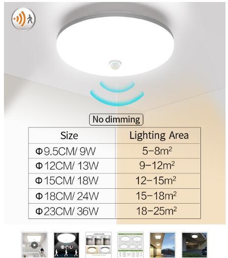 Luces LED de techo PIR Sensor de movimiento
