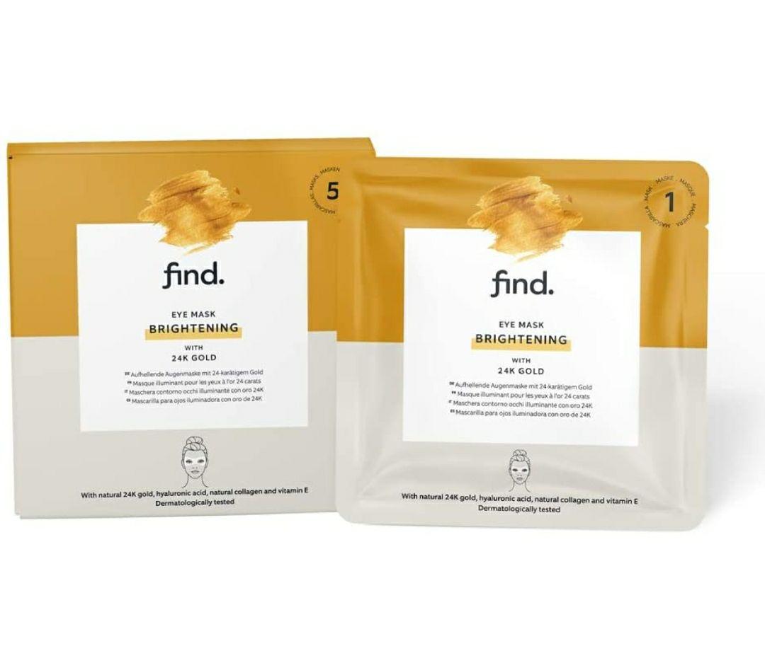 FIND - Mascarilla hidrogel, sin goteo, iluminadora para el contorno de ojos con oro de 24 quilates, pack de 5 unidades