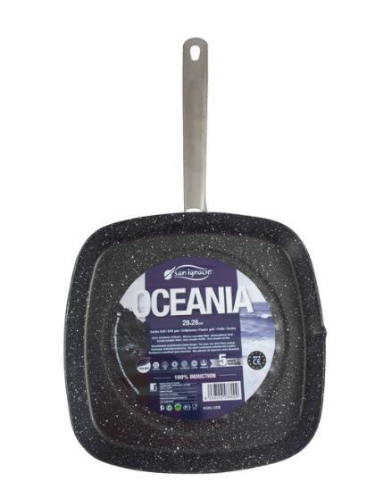 Grill 28cm Con Revestimiento Interior De Mármol Y Exterior De Esmalte Oceania Con Mango De Acero Inoxidable