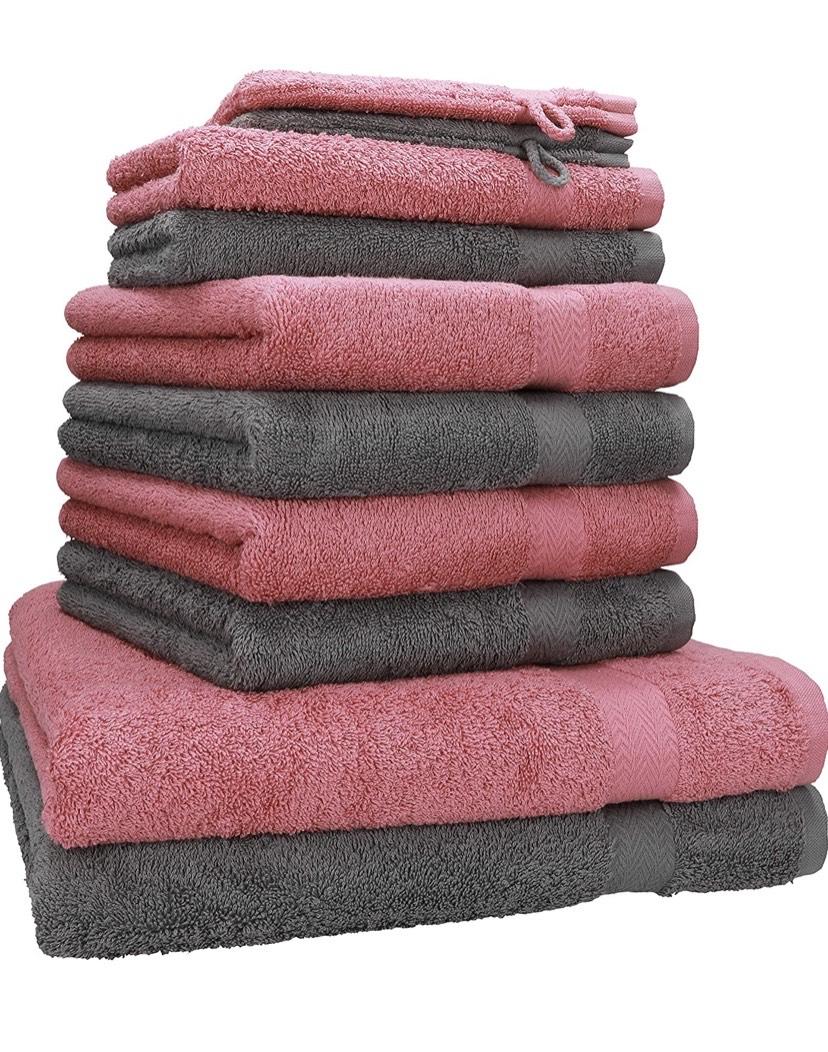 Juego de 10 Toallas Premium 100% algodón 2 Toallas de baño 4 Toallas de Lavabo 4 Toallas de tocador 2 Manoplas de baño