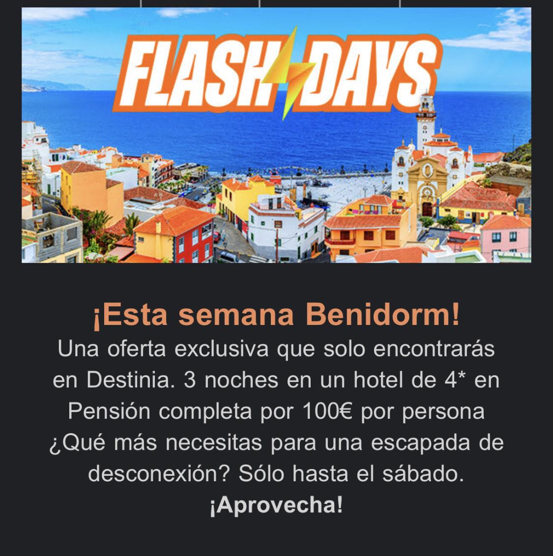 ¡Flash Days de Destinia! Esta semana.... Benidorm