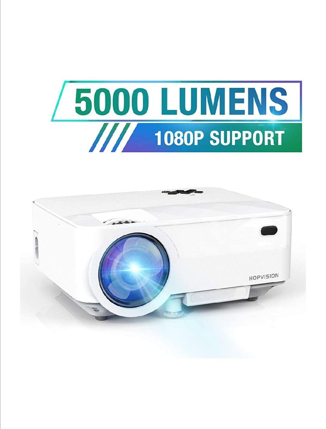 Mini Proyector 480p Full HD,Proyector Portátil de 5000 Lúmenes con Pantalla Máx