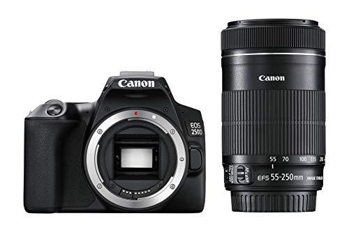 Canon EOS 250D + EF-S 18-55mm f/4-5.6 IS STM Juego de cámara SLR 24,1 MP CMOS 6000 x 4000 Pixeles Negro - Cámara Digital