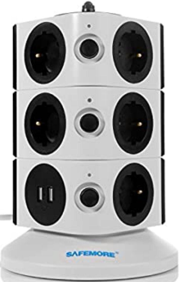 Regleta de Enchufes Vertical de 11 Tomas Corrientes y 2 Rapida USB (Precio Mínimo)