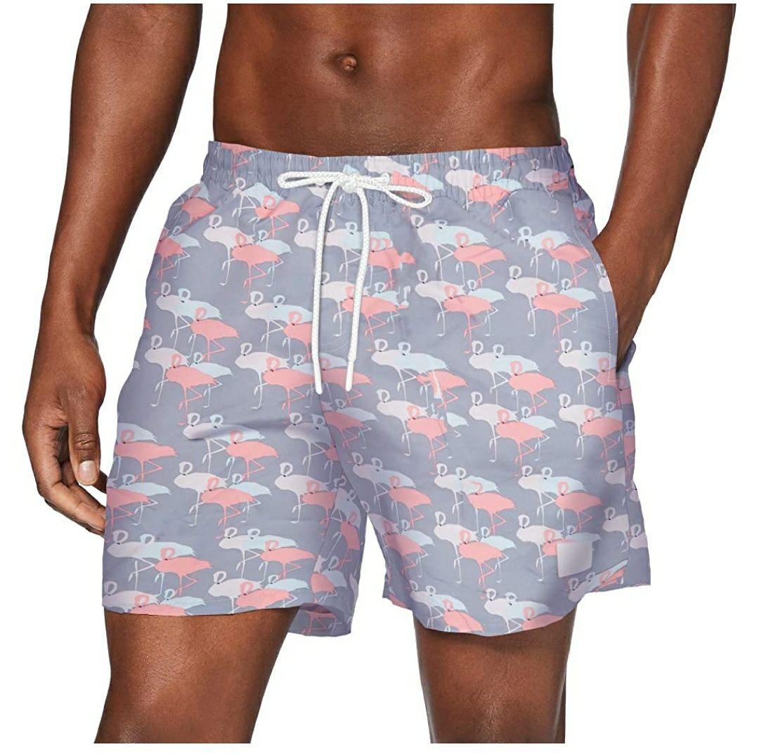TALLA M - Urban Classics Pattern Swim Shorts Bañador flamencos para Hombre