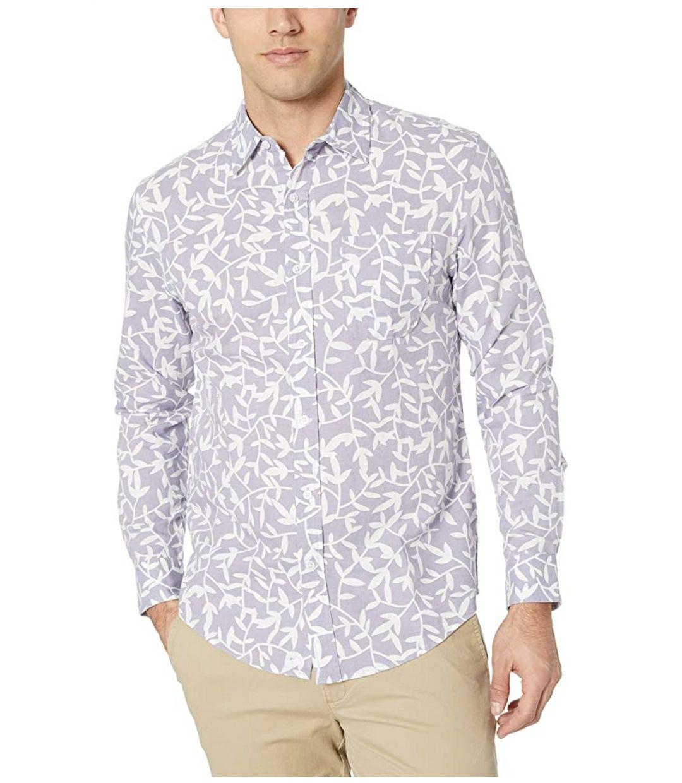 TALLA S - Amazon Essentials Camisa de Manga Larga con Estampado de Algodón Y Lino - Button-Down-Shirts Hombre