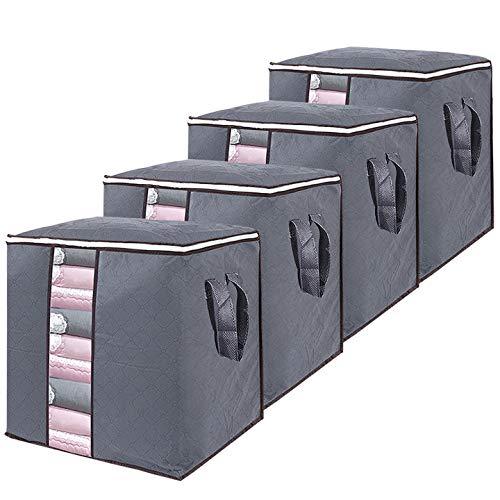 4 Piezas Cajas Almacenaje Ropa de Armario Transpirable con Cremallera Robusta